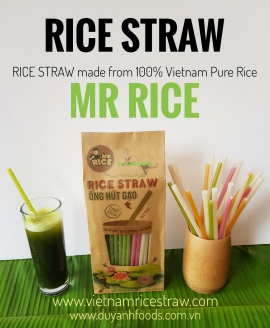 Compostable eco friendly product rice Drinking Straw - Rice Straws - Brand: Mr Rice